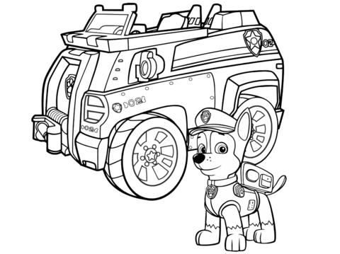 paw patrol chase police car omalovnka free printable