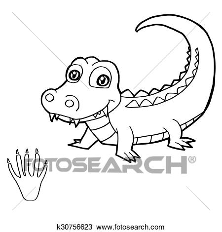 paw print with crocodile coloring p clipart k30756623