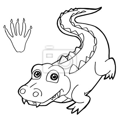 paw print with crocodile coloring pages vector fototapete