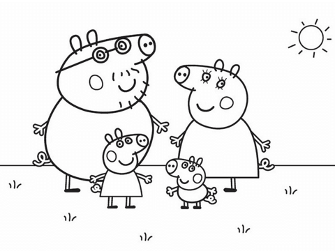 peppa pigs family omalovnka free printable coloring pages