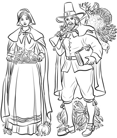 pilgrim couple coloring page free printable coloring pages