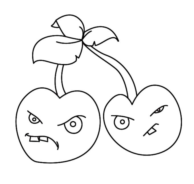 plants vs zombies coloring pages cherry bomb plants vs