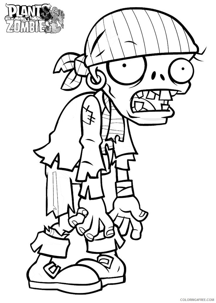 plants vs zombies coloring pages pirate zombie coloring4free