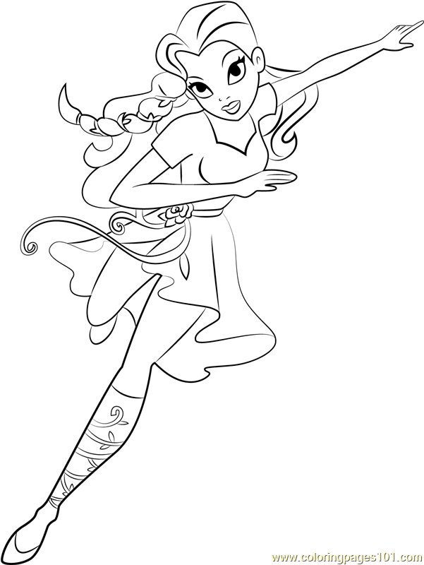 poison ivy coloring page free dc super hero girls coloring