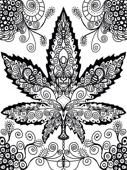 pot leaf adult hippie coloring free adult coloring pages