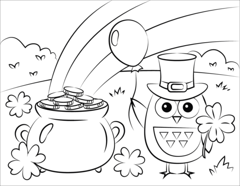 pot of gold rainbow and st patricks day owl coloring