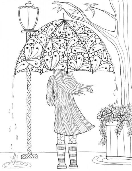 prettiest umbrella girl coloring page ausmalbilder