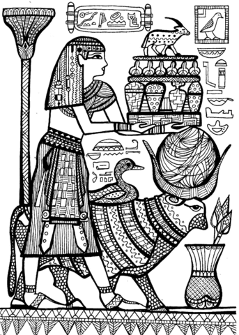 priest and sacred animals of ancient egypt omalovnka free