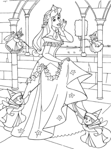 princess aurora with good fairies coloring page free