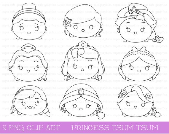 princess digital stamps tsum tsum stamps princess tsum tsum intstant download party coloring page tsum tsum digital stamp princess