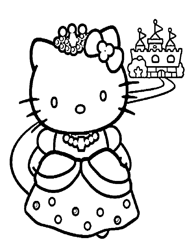 princess hello kitty coloring pages ekids pages free