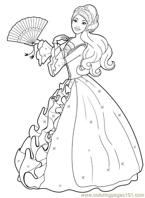 print a princess free printable coloring page barbie