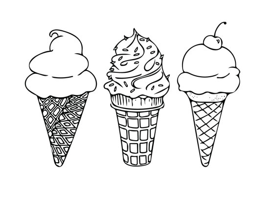 printable coloring sheet instant download ice cream