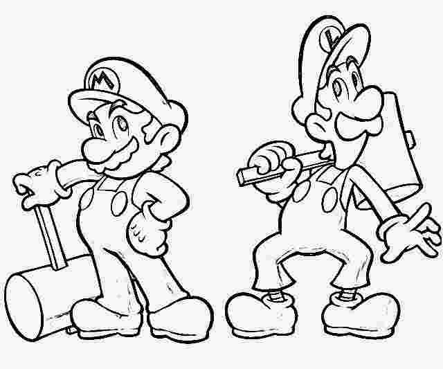 printable colouring pages of mario and luigi mario and luigi
