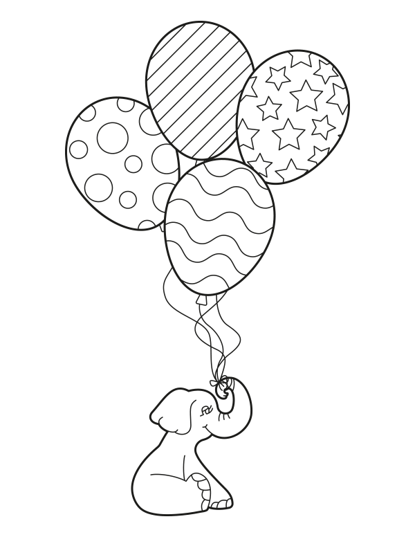 printable elephant with balloons coloring page