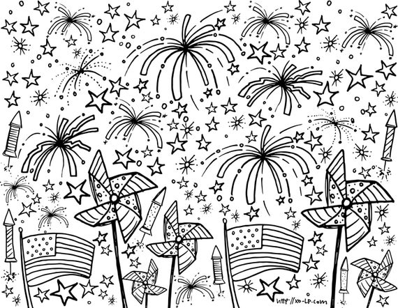 printable fourth of july coloring page for kids instant download instant fun