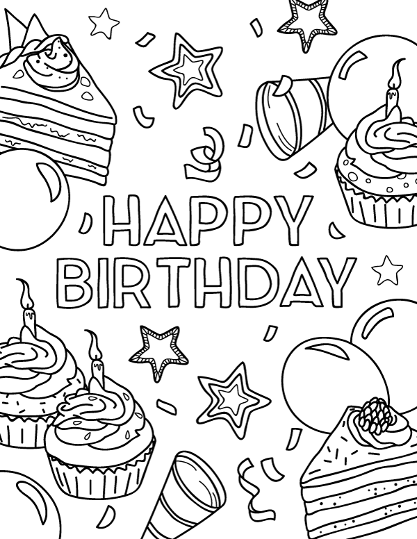 printable happy birthday coloring page
