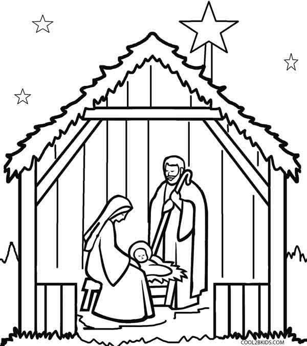 printable nativity scene coloring pages for kids