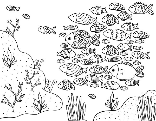 printable school of fish coloring page