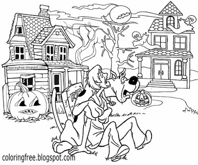 printable scoo doo coloring haunted ghost town monster