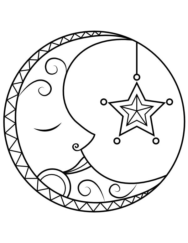 printable sleeping moon coloring page