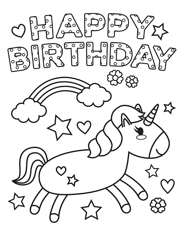 printable unicorn happy birthday coloring page