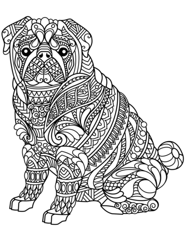 pug dog zentangle coloring page free printable coloring pages