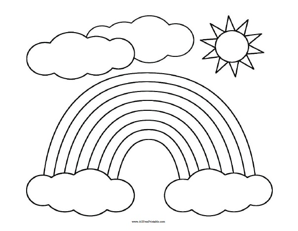 rainbow coloring page free printable allfreeprintable