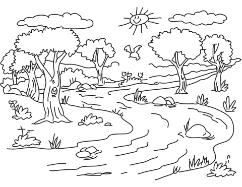 river landscape coloring page free printable coloring pages
