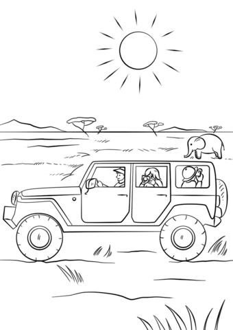 safari jeep coloring page free printable coloring pages