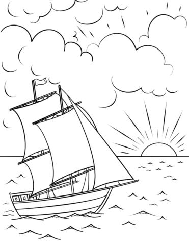 sailing ship at sunset coloring page free printable