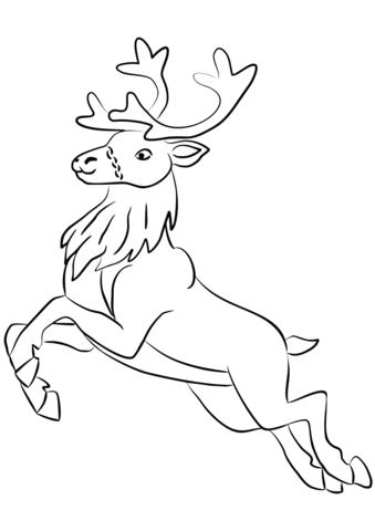 santa clauss reindeer coloring page free printable