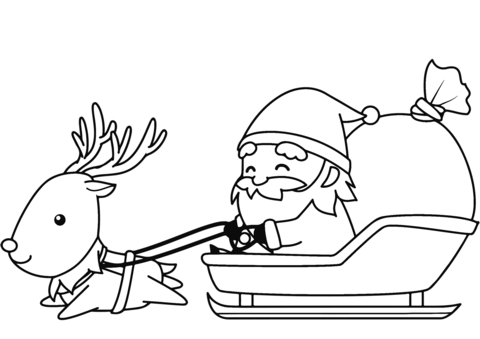 santa in sleigh with reindeer coloring page free printable