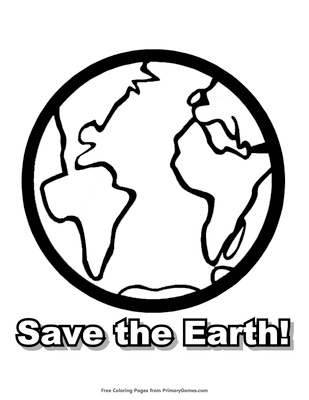 save the earth coloring page free printable pdf from