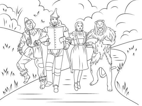 scarecrow tin man dorothy and cowardly lion coloring page