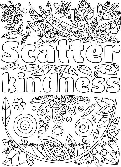 scatter kindness adult coloring page quote coloring pages