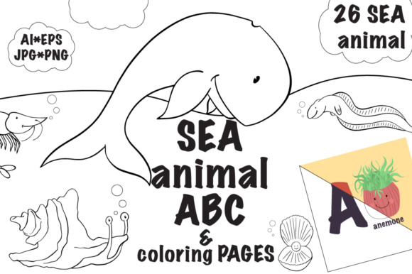 sea animal abc coloring pages