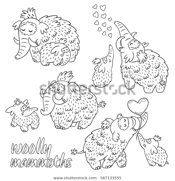 set cartoon mammoth ba coloring pages stock vektorgrafik