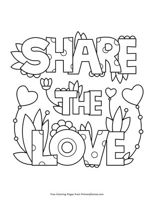 share the love coloring page free printable pdf from