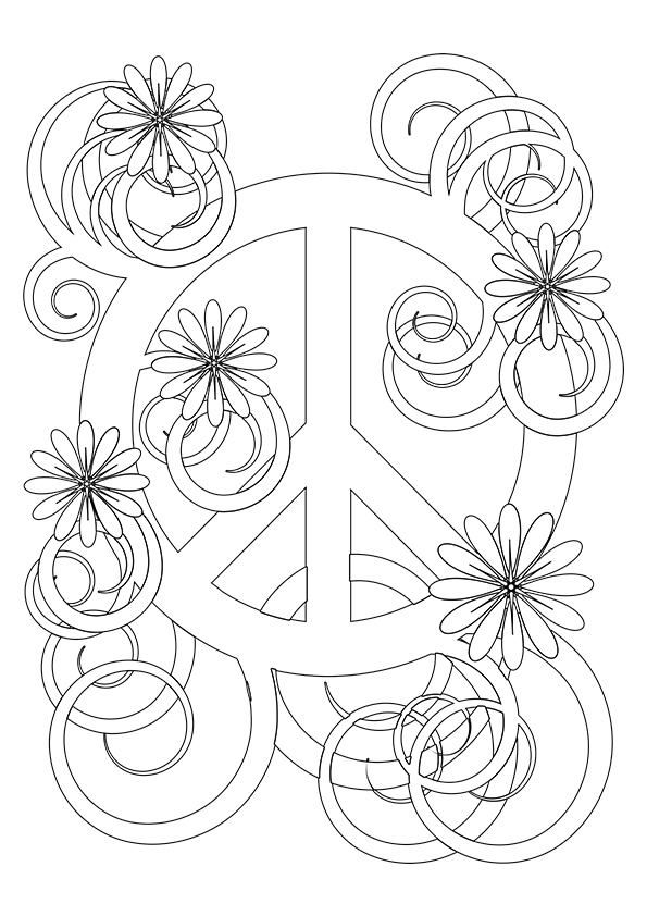 simple and attractive free printable peace sign coloring