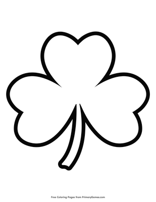 simple shamrock outline coloring page free printable pdf