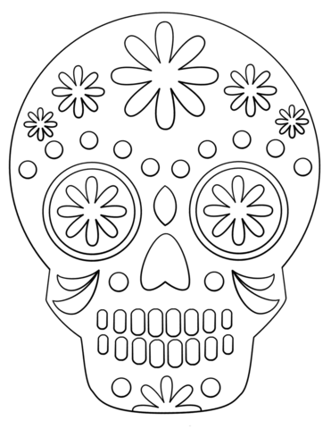 simple sugar skull coloring page free printable coloring pages