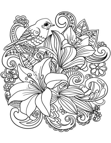 skylark and flowers coloring page free printable coloring