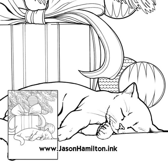 sleeping kitten coloring page pdf instant download coloring pages adult coloring pages coloring books for adults