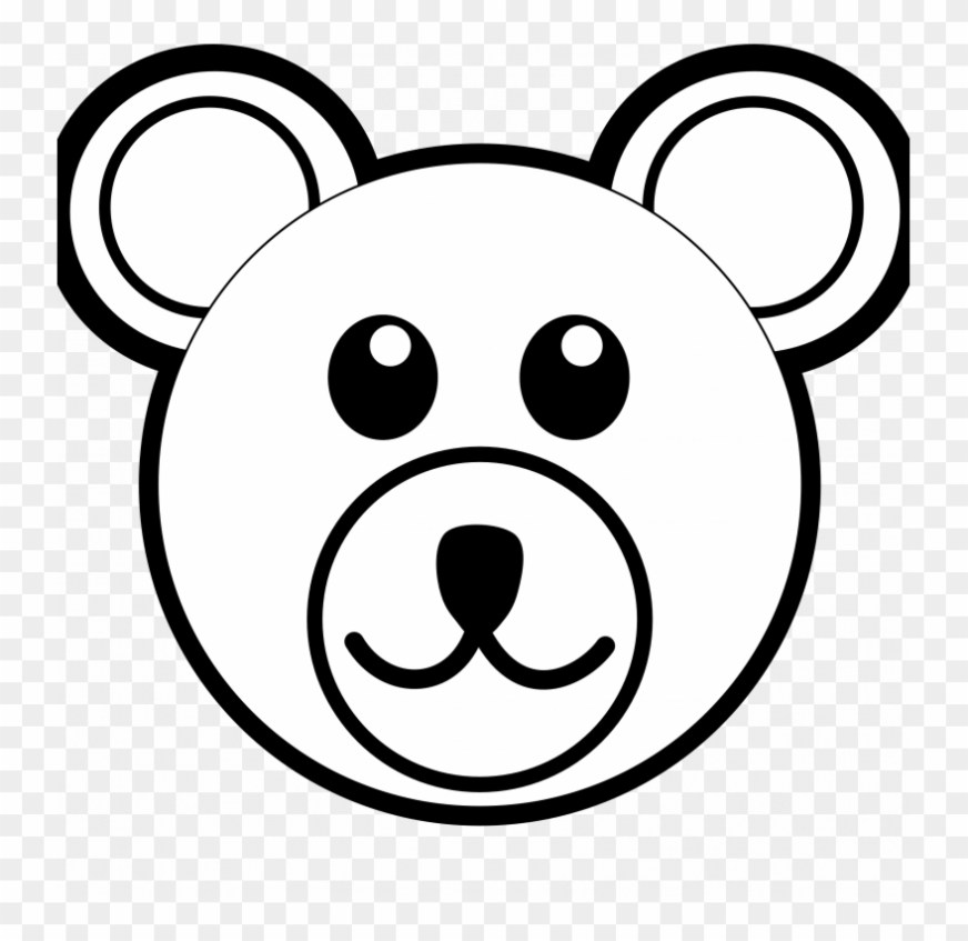 small size bear face colouring pages clipart 875678