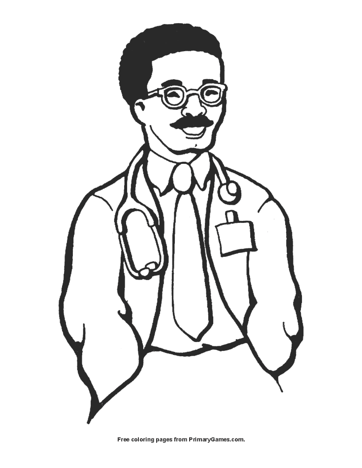 smiling doctor coloring page free printable pdf from