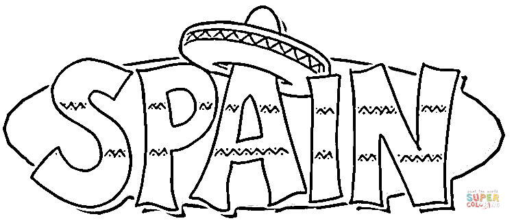 sombrero on the spain coloring page free printable