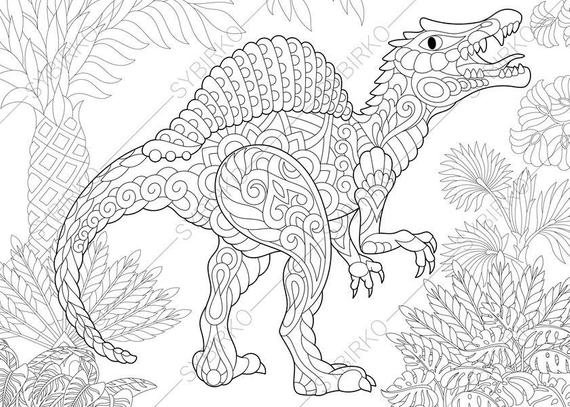 spinosaurus dinosaur dino coloring pages animal coloring book pages for adults instant download print