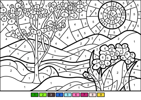 spring color number free printable coloring pages