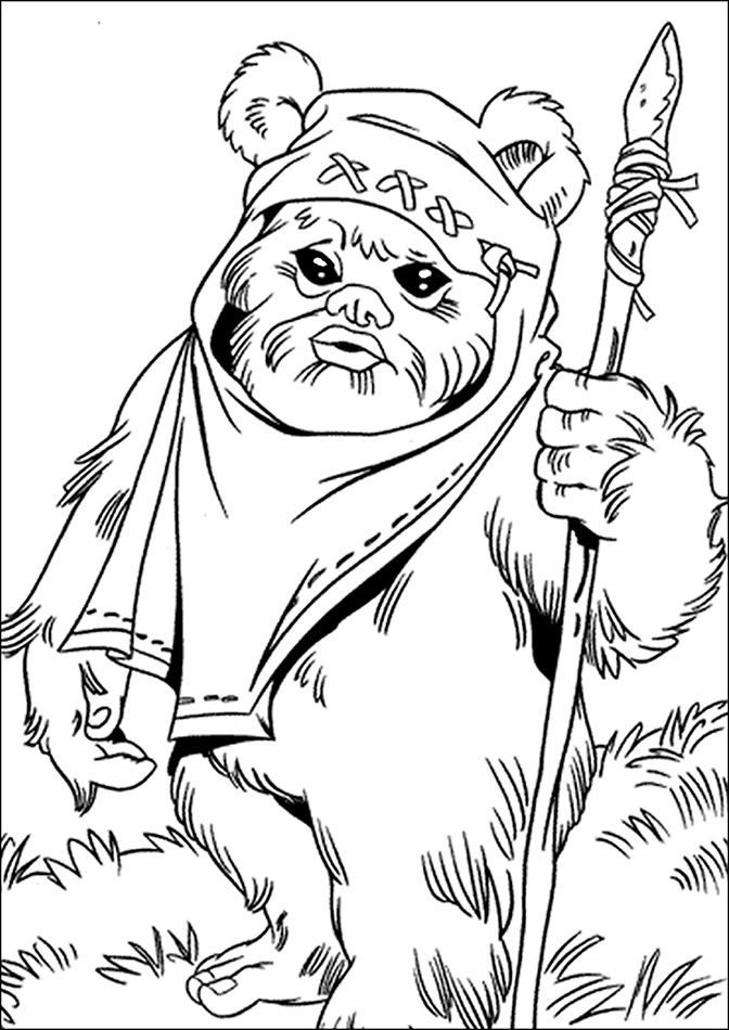 star wars princess leia coloring pages ewok and leia